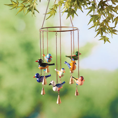 Hand-Painted Wood Birds Wind Chime