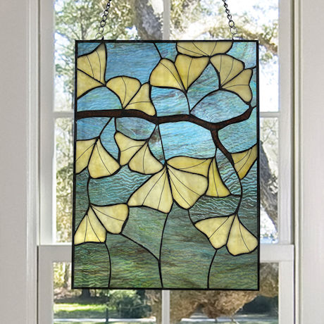 Gingko Leaves Stained Glass Panel