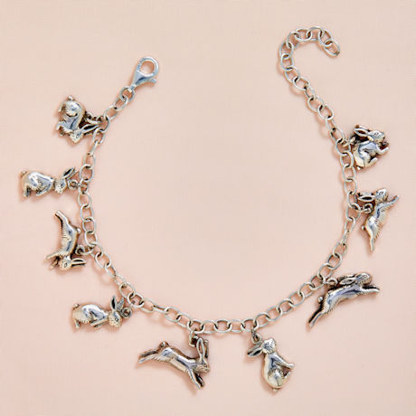 Sterling Silver Bunnies Charm Bracelet