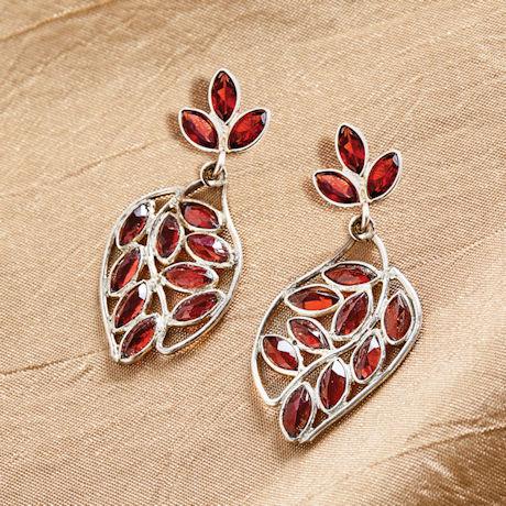 Garnet Leaf Earrings