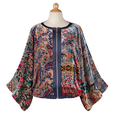 Zip-Front Velvet Jacket