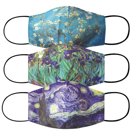 Breathable, Washable, and Reusable Van Gogh Print Adult Face Masks - Starry Night, Almond Blossoms, and Irises (Set of 3)