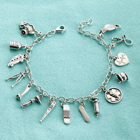 Sterling Silver Medical Charm Bracelet