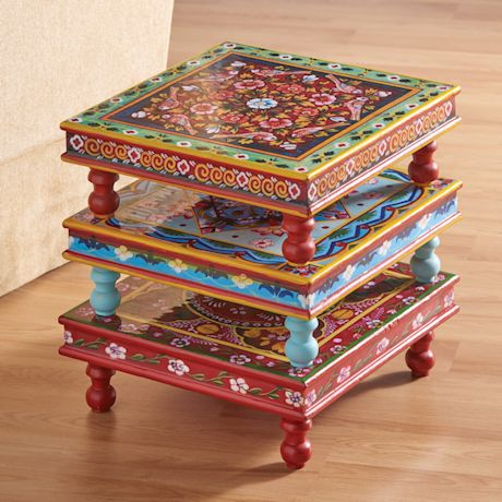 Handpainted Indian Stacking Table