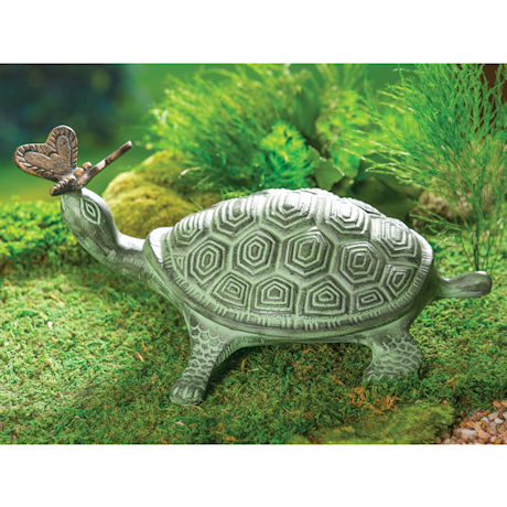 Turtle and J Butterfly Garden Sculpture