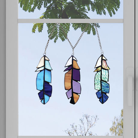 Three Stained Glass Feathers