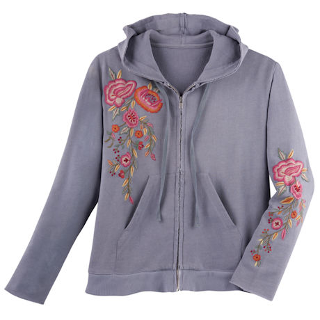Poppies Embroidered Hooded Jacket