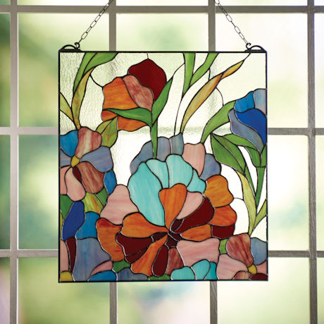 Vivid Flowers Stained Glass Panel