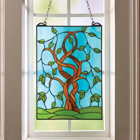 Artful Tree Stained Glass Panel