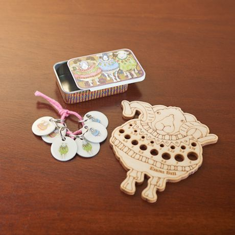 Sheep Knitting Needle Gauge and Stitch Markers Set