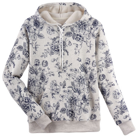Blue Toile Sweatshirt - Hooded