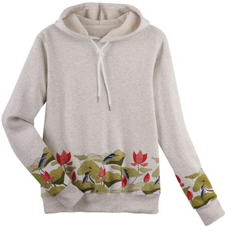 Lotus Flowers Border Print Hooded Sweatshirt