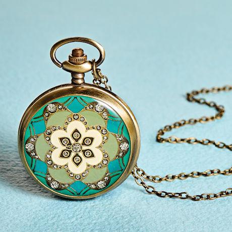 Deco Bloom Pocket Watch Necklace