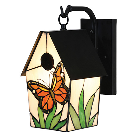 Stained Glass Birdhouse Outdoor Lantern