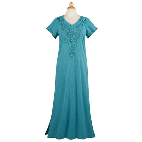 Tonal Embroidered Maxi Dress