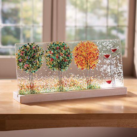 Four Seasons Art Glass Panel