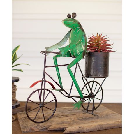Cycling Frog with Flowerpot Sculpture
