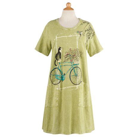Cat on a Bike T-Shirt Dress