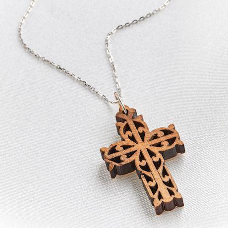 Olive Wood Filigree Cross Necklace