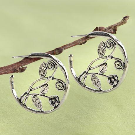 Sterling Silver Floral Post Hoop Earrings