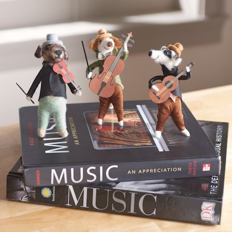 Hand-felted Dogs Musicians