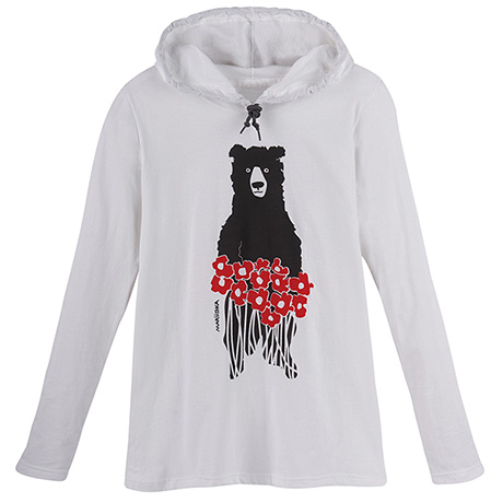Marushka Bear with Poppies Hooded T-Shirt