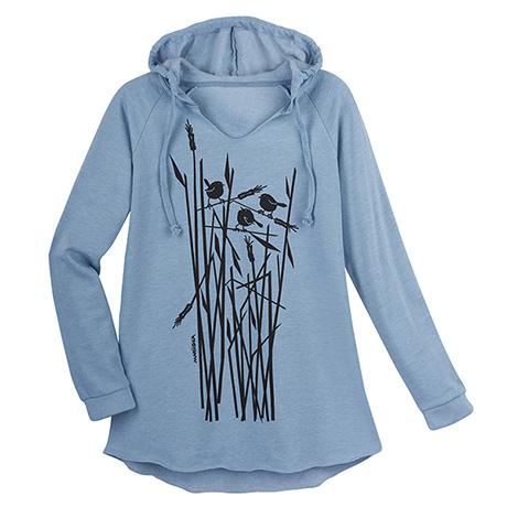Marushka Birds in Wheat Hooded Sweatshirt