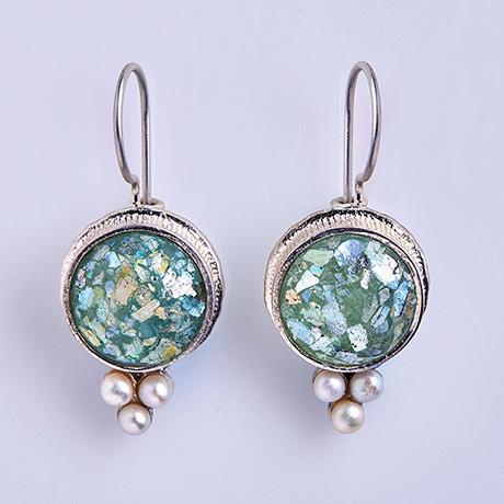 Roman Glass and Pearl Earrings