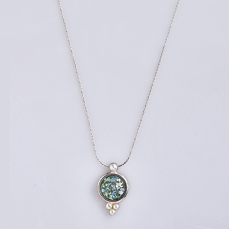 Roman Glass and Pearl Necklace