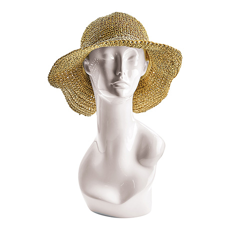 Crocheted Straw Hat with Bow