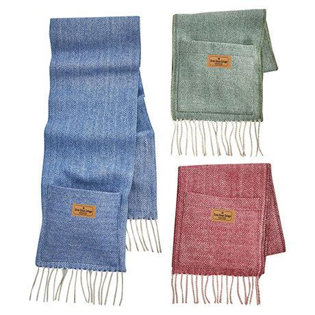 Wool Herringbone Pocket Scarf