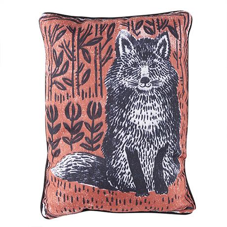 "Woodblock Woodland Animals Pillow - Fox Pillow (13"" x 18"")"