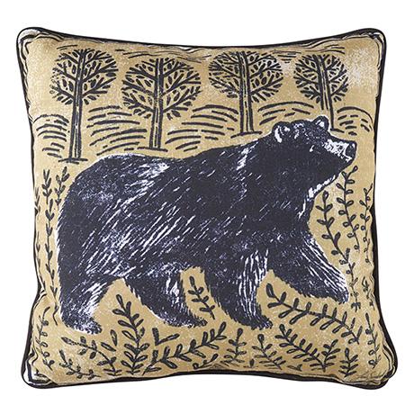 "Woodblock Woodland Animals Pillow - Bear (18"" square)"