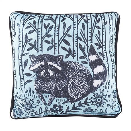 "Woodblock Woodland Animals Pillow - Raccoon (12"" square)"