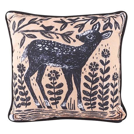 "Woodblock Woodland Animals Pillow - Deer (12"" square)"