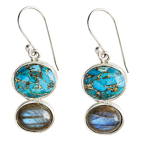 Copper Turquoise & Labradorite Earrings