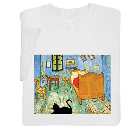 Van Gogh Bedroom with Cat Shirts