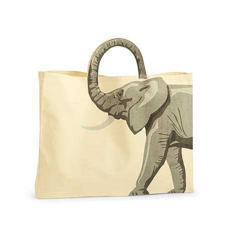 Trunk Handle Elephant Tote Bag in Natural Cotton Canvas