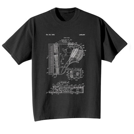 Vintage Patent Drawing Shirts - Piano