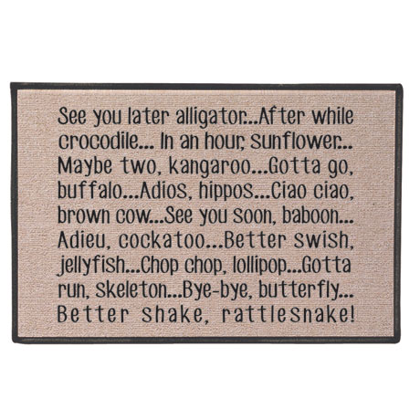 See You Later Alligator Doormat - 100% Olefin Welcome Rug