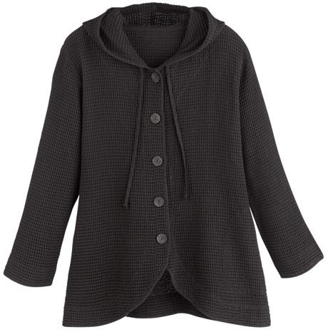 Tunic Jacket - Hooded Button-Front Waffle Jacket