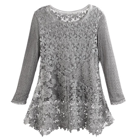 Women's Long Sleeved Gray Tunic Top - Plus Sizes Available