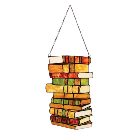Book Lover's Stained Glass Panel