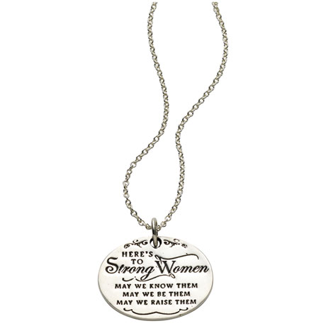 Strong Women Sterling Silver Pendant Necklace