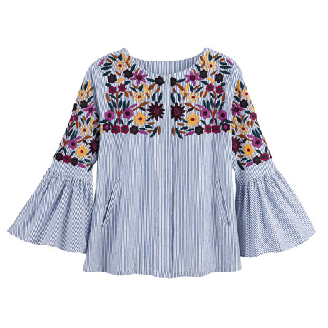 Floral Embroidered Bell Sleeve Blouse - Plus Sizes Available