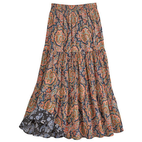 Paisley Reversible Broomstick Skirt