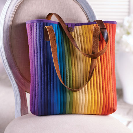 Rainbow Quilted Tote Bag