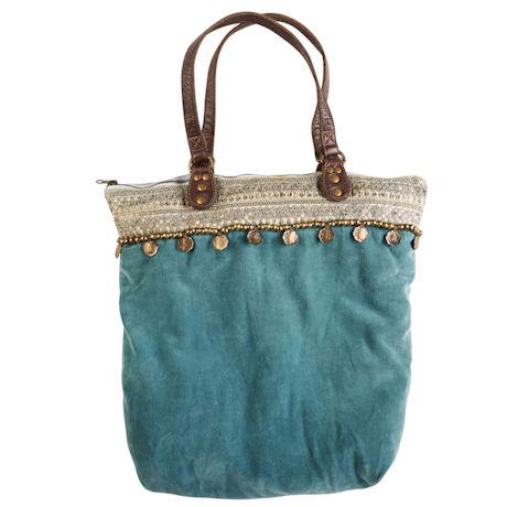 Bohemian Blue Velvet Tote Bag