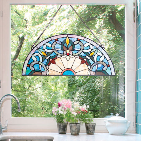 Tiffany-Style Blue Half-Moon Stained Glass Panel