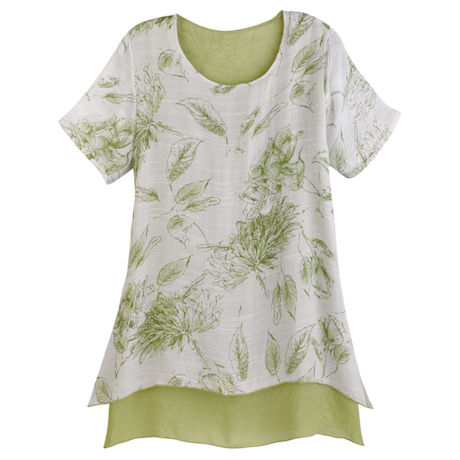Summer Leaves Short Sleeve Tunic - Green